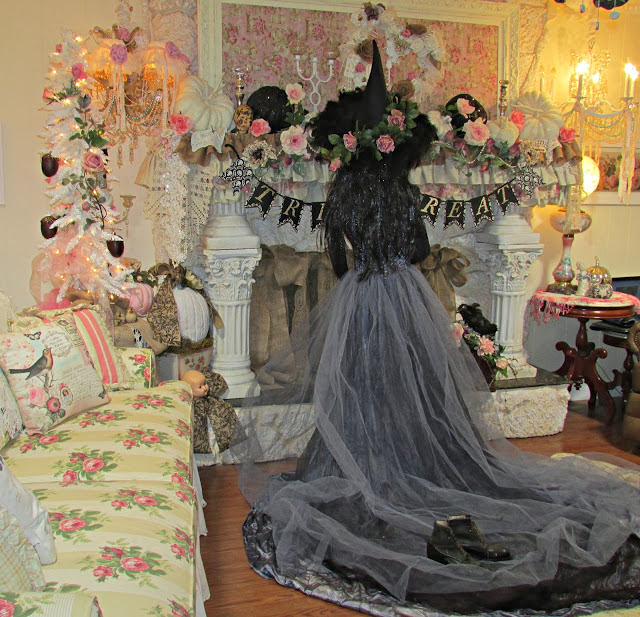 vintage bridal gown Halloween witch