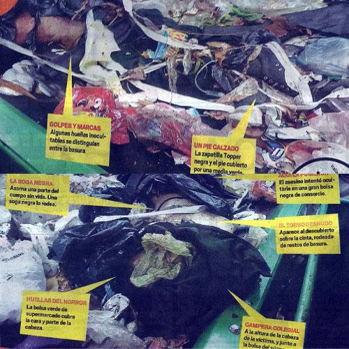 ... tal como fue encontrada dentro de una bolsa de residuos en el Ceamse