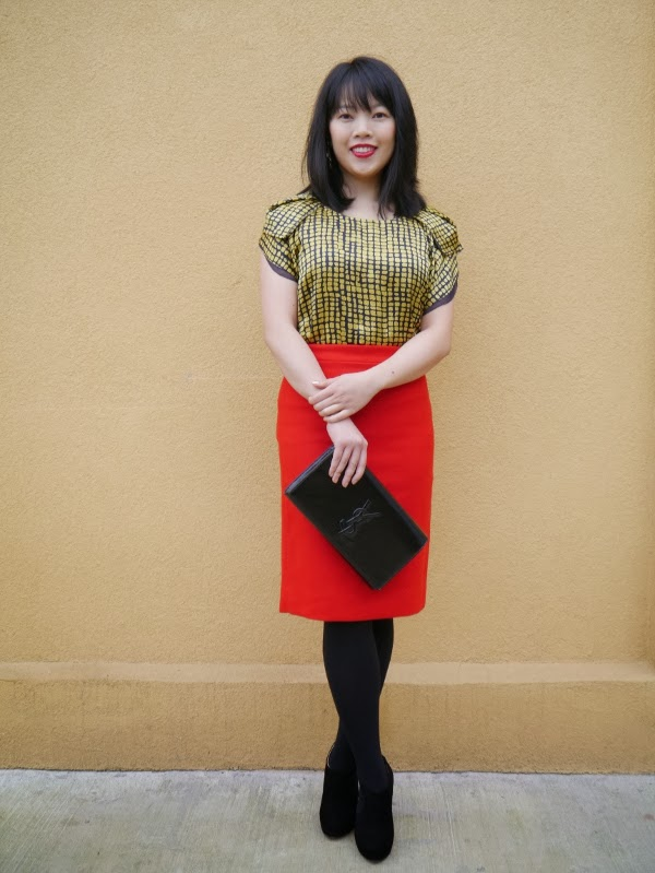 Hanii Y blue and yellow silk blouse, J. Crew cherry no. 2 pencil skirt in double-serge wool, black Prada booties, black patent Saint Laurent 'Belle de Jour' clutch