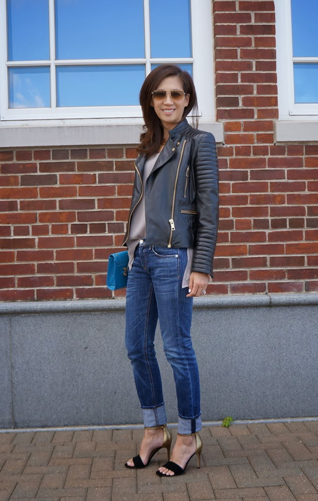 Wearing Mango moto jacket, tank, Rag & Bone boyfriend jeans, Joie heels on a beautiful Fall day with Ray-Ban sunnies