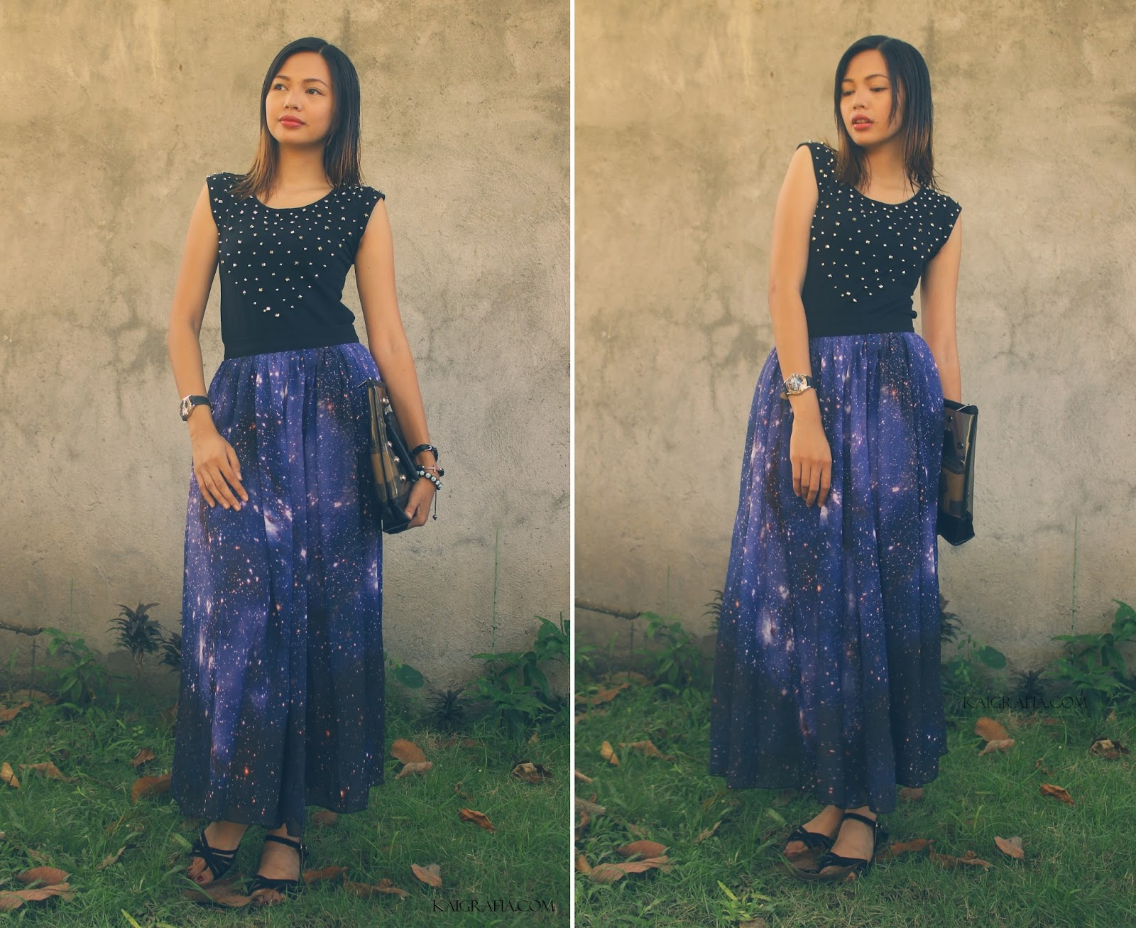 Romwe Galaxy skirt and Top