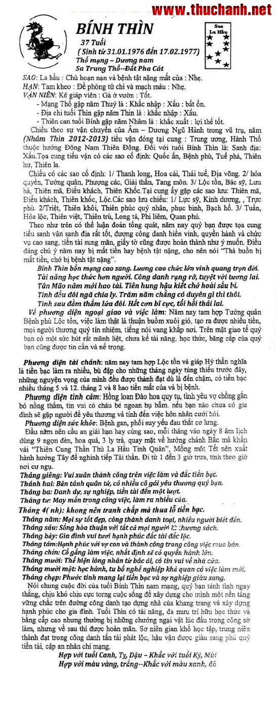 Xem tử vi tuổi Bính Thìn nữ mạng năm 2012 Nhâm Thìn