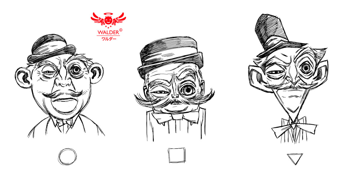 portraits, caricature, simple shapes