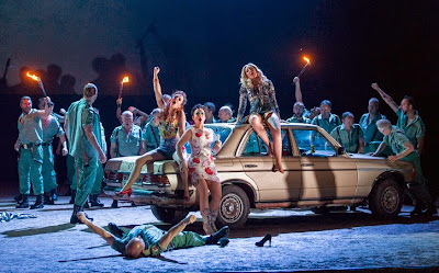 Justina Gringyte, Rhian Lois, Clare Presland and company - Carmen - ENO - photo Alastair Muir