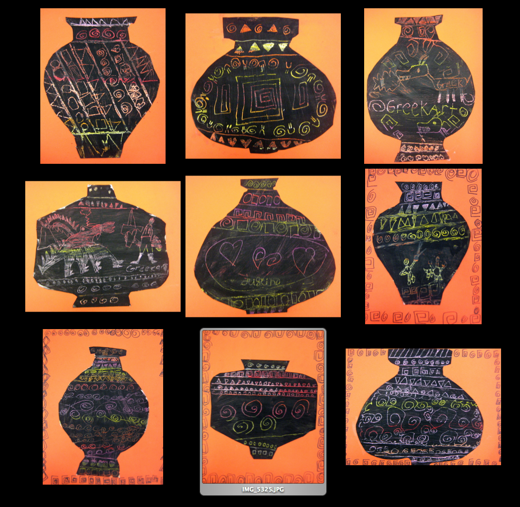 Greek Vases Scratch Art on Type Of Shapes For Education Coloring Page