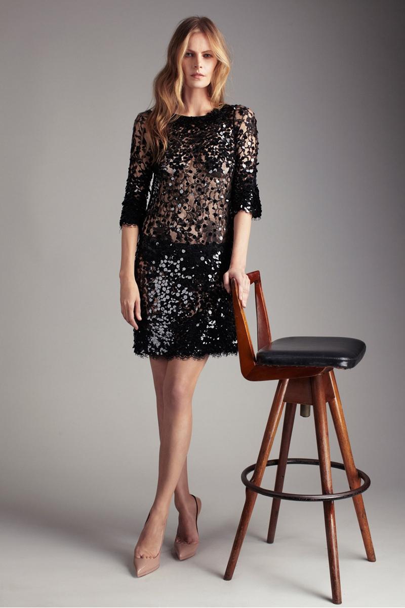 payetli elbise modeli siyah - Payetli ve Dantelli Elbise Modelleri