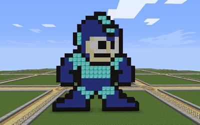 Minecraft pixel art megaman building idea