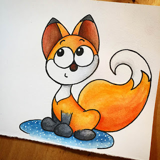 Ink and watercolor drawing of a smiling and sly little fox pup for a lunchbox note