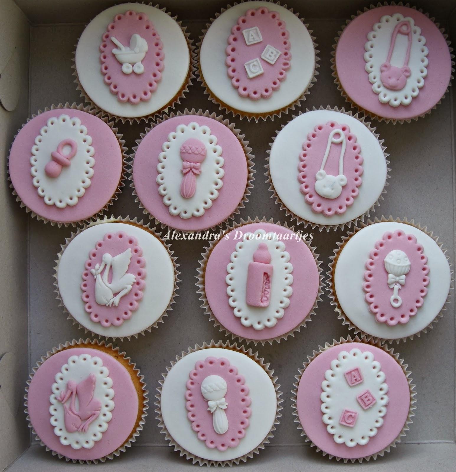 babyshower cupcakes meisje roze   Alexandra u0026#39;s droomtaartjes