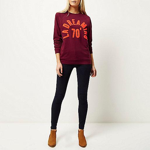 river island slogan jumper, river island burgundy jumper, orange text jumper,