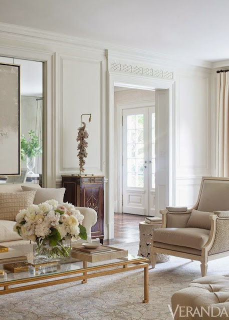 beautiful traditional white gold neutral living room design