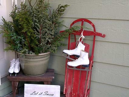 old skis too - Ice Skate Christmas Decoration