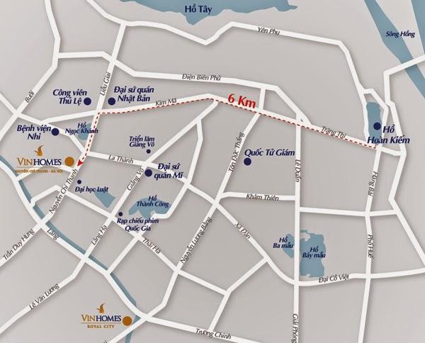 Ví trí chung cư Vinhomes Nguyễn Chí Thanh, Hà Nội