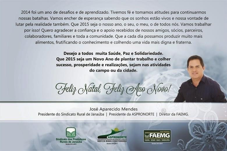 MENSAGEM DO PRESIDENTE DO SINDICATO RURAL DE JANAÚBA E DA ASPRONORTE