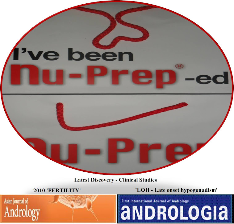 Journal AJA 2010'Fertility ',ANDROLOGIA June2012 LOH-late onset hypogonadism Nu-Prep100 US,EUpatent