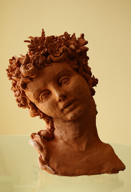 spring, sarah, myers, sculpture, earthenware, large, red, woman, smile, figurative, new, baroque, classic, flowers, buds, blossoms, wreaths, hair, tilt, exuberance, seasons, personification, allegorical, art, arte, escultura, life-size, happiness, human, head, face, sculpting,
