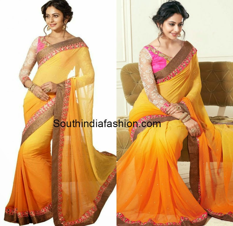 double shaded georgette saree