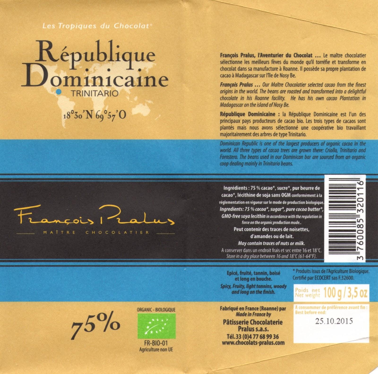 tablette de chocolat noir dégustation pralus noir république dominicaine trinitario 75