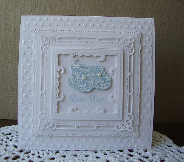 Serendipity Stamps Baby Booties Baby Boy Elegant baby card Spellbinder Marvelous Squares