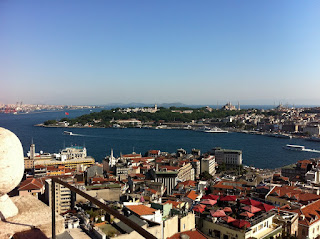 The view of the Topkapi Palace, the Hagia Sophia and the Blue Mosque from the Galata Tower.