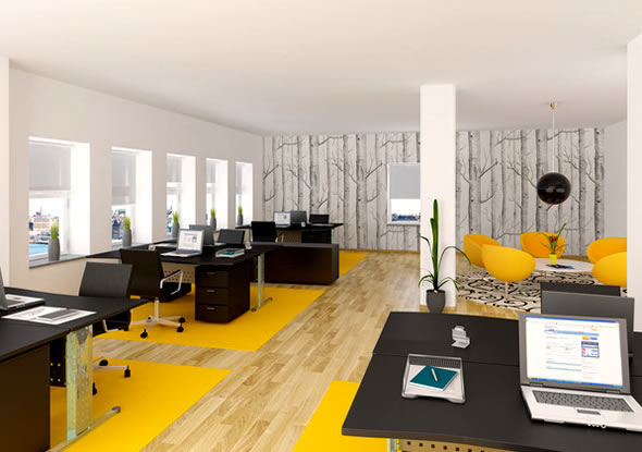 Modern office design back 2 home for Modern office space layout