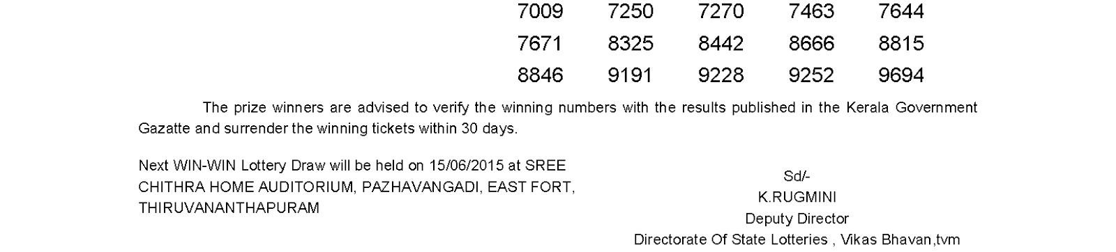WIN WIN Lottery W 311 Result 8-6-2015