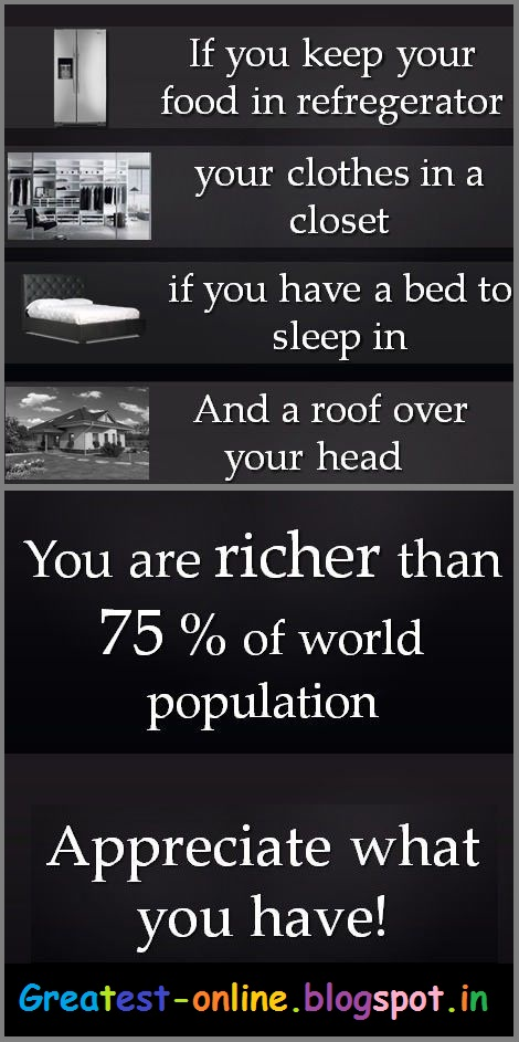 If You Have Fridge, Closet, Bed And Roof, You Are Richer Than 75% Population