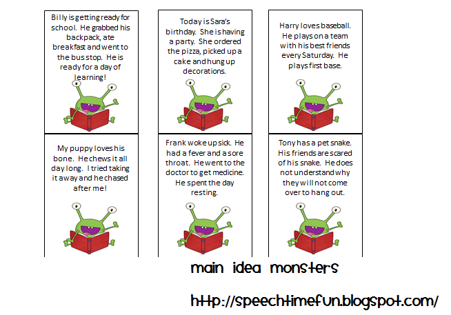 math worksheet : main idea monsters  speech time fun : Multiple Choice Main Idea Worksheets