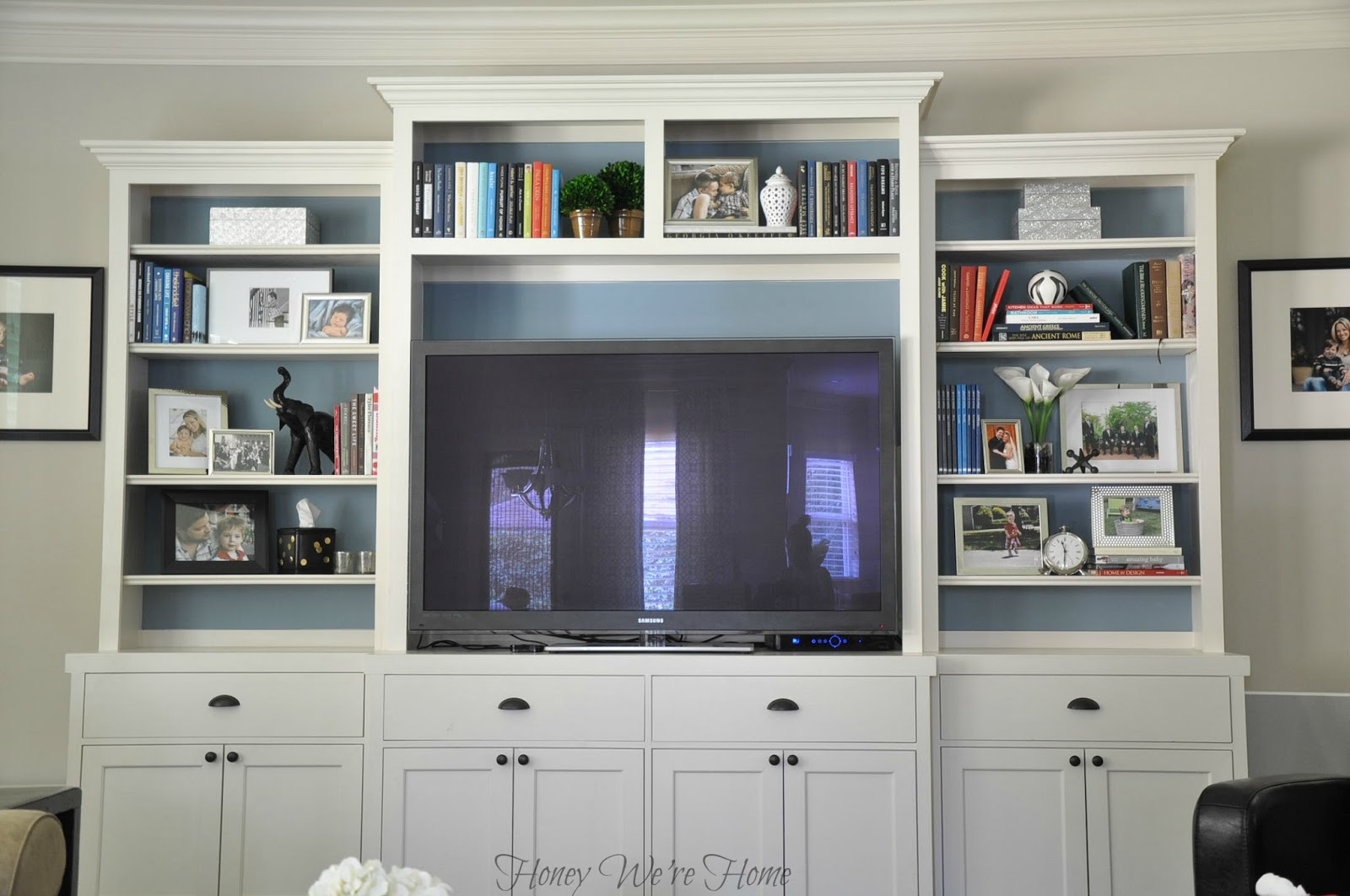 Kitchen Cabinets Entertainment Center painted media cabinet & bookshelf styling | honey we're home