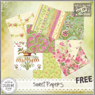 "Free scrapbook ""Sweet papers"" from Cajoline scrap"