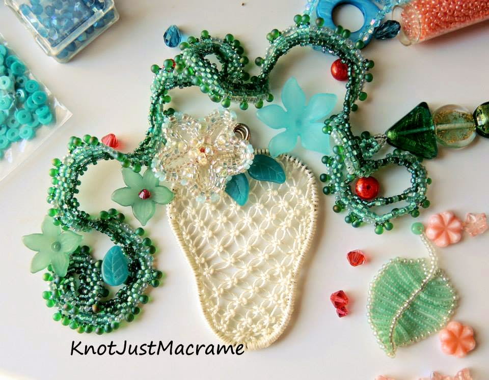 Beaded pieces by Lindsay Starr and macrame by Sherri Stokey