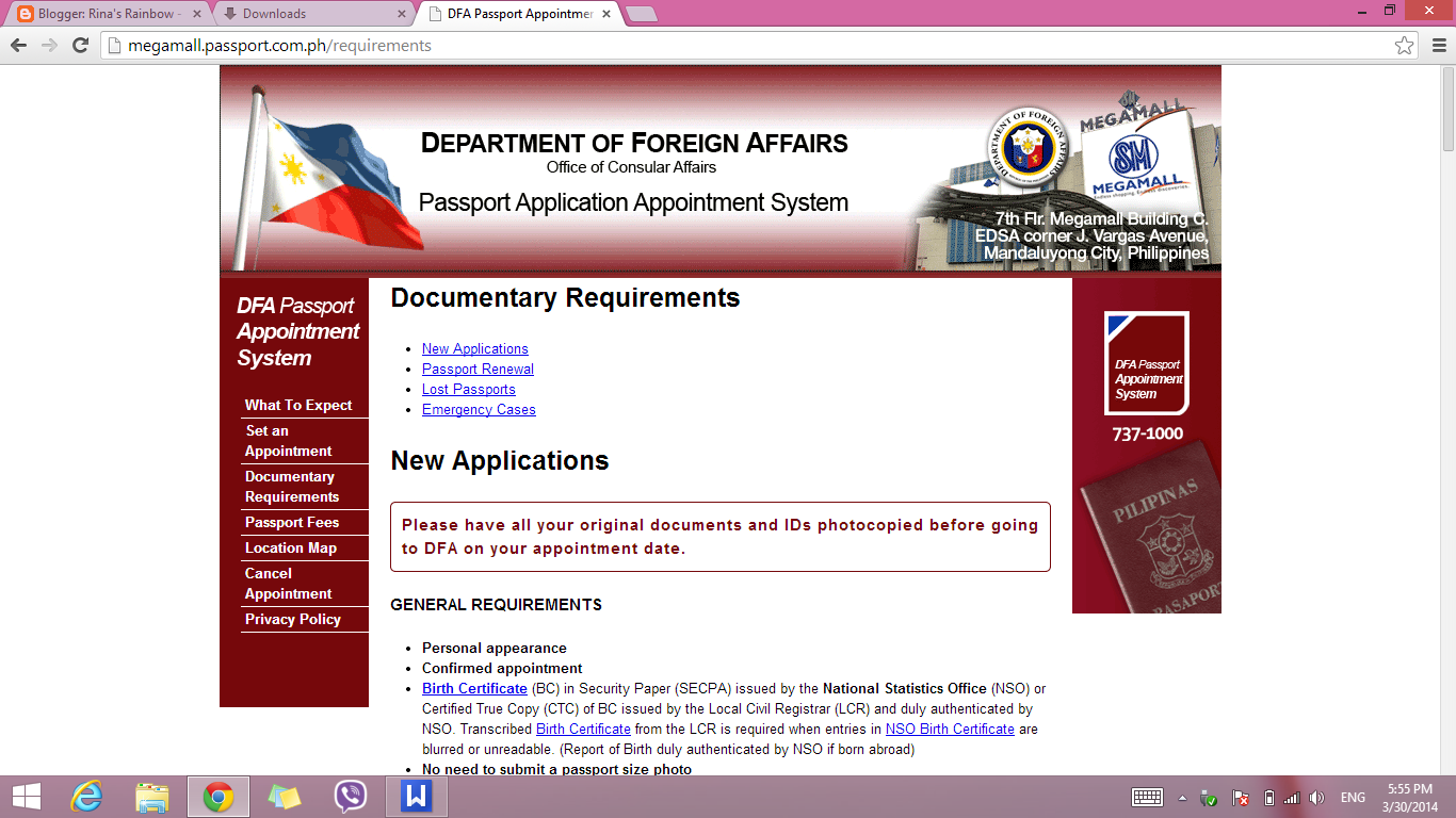 DFA Website (Document Requirements)