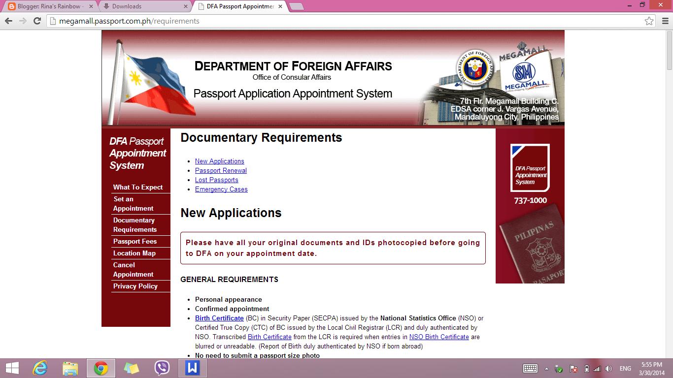 DFA Website (Document Requirements)