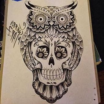 Tatuagem de coruja com caveira mexicana - Fotos