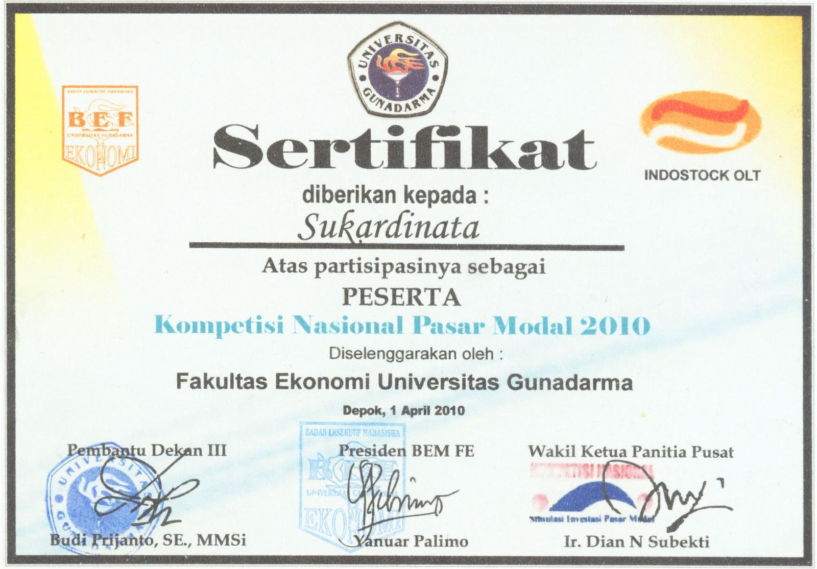 Contoh desain sertifikat kampus universitas gunadarma contoh desain