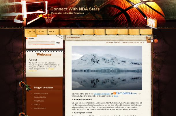 Free Blogger Dark Basketball Layout Template