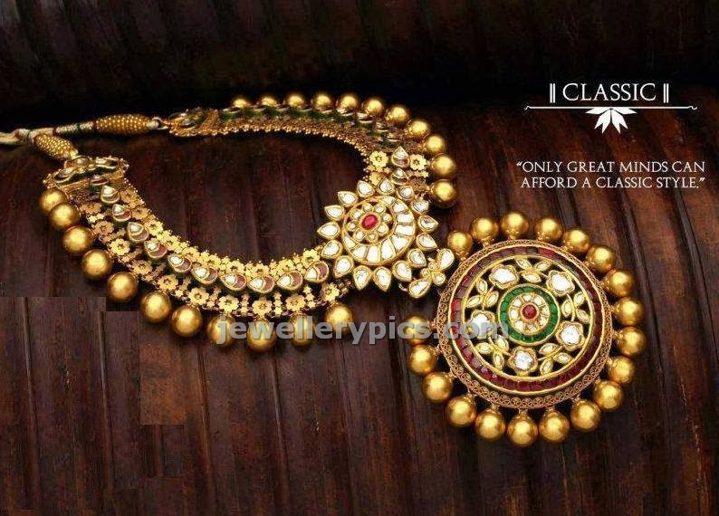 geet jewellers antique necklace design in sun pendent