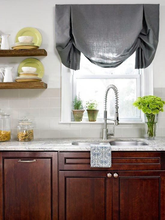 interesting texture in a classic kitchen with cherry cabinets the