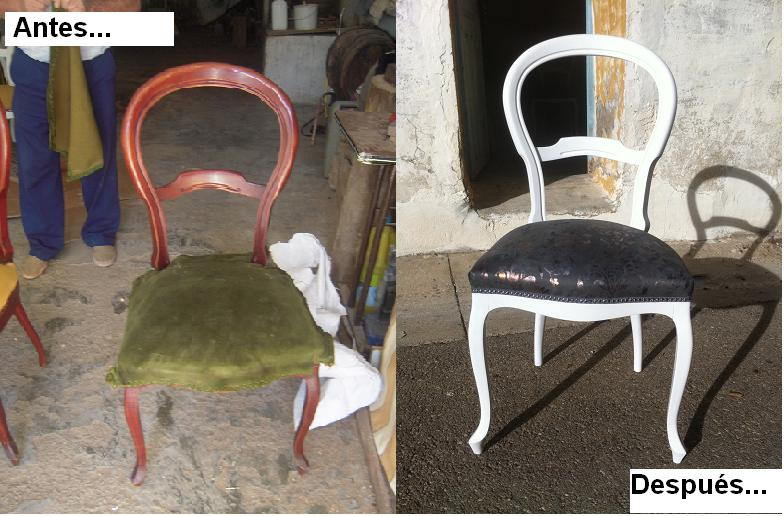 Antes y despu s las sillas antiguas de aitana se - Como tapizar sillas antiguas ...