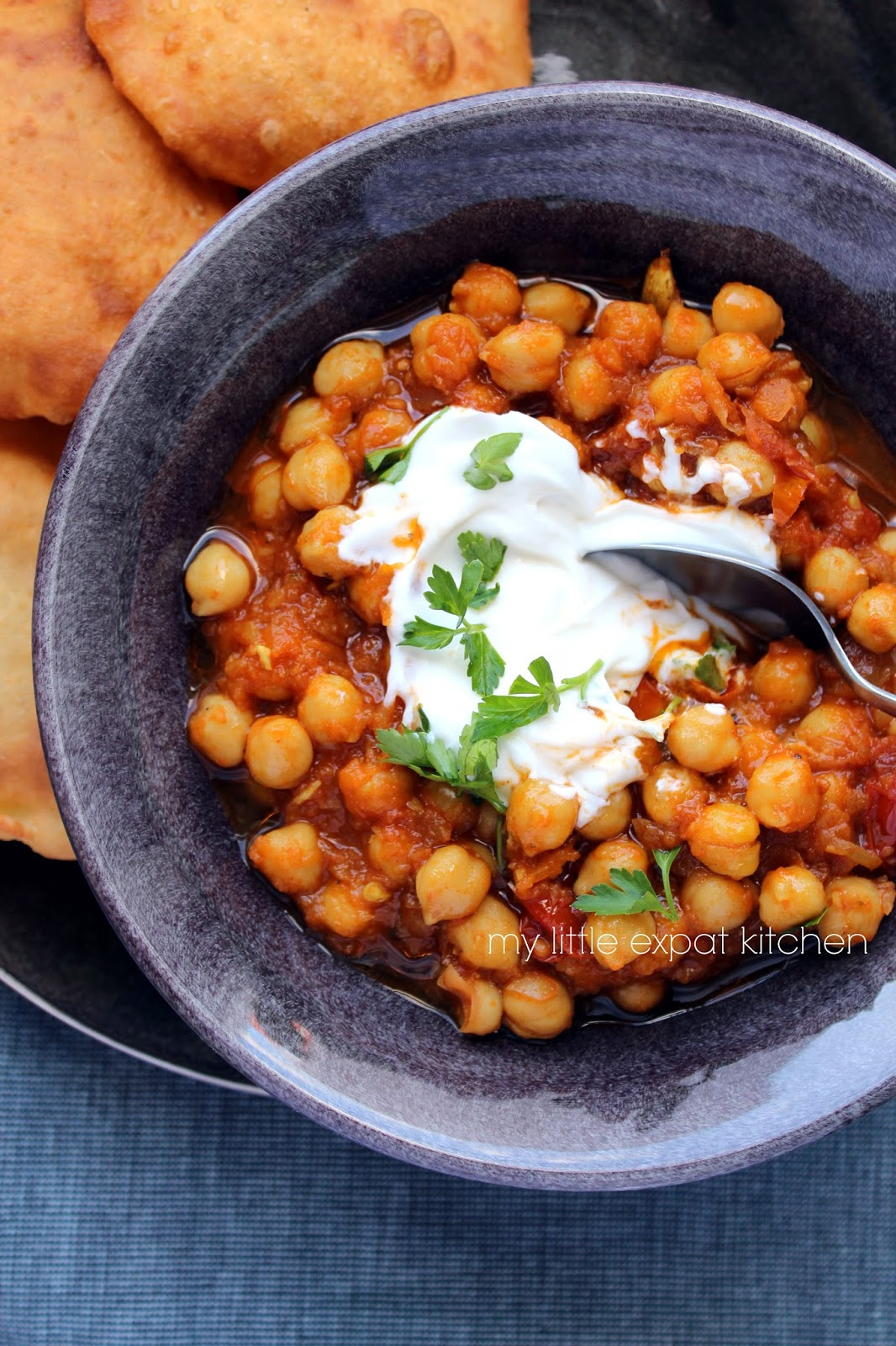 ... Bhature (Indian spicy chickpea stew and Indian puffed fried bread