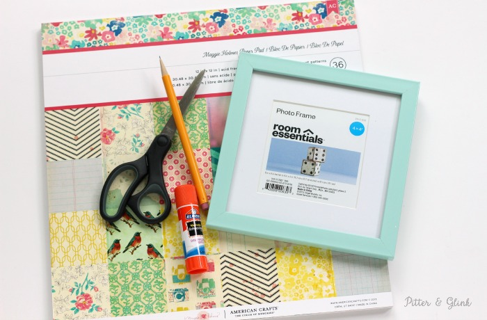 A cheap frame can truly pop with the addition of a patterned photo mat! www.pitterandglink.com