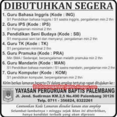 Lowongan Kerja Guru - Yayasan Perguruan Baptis   Palembang ...