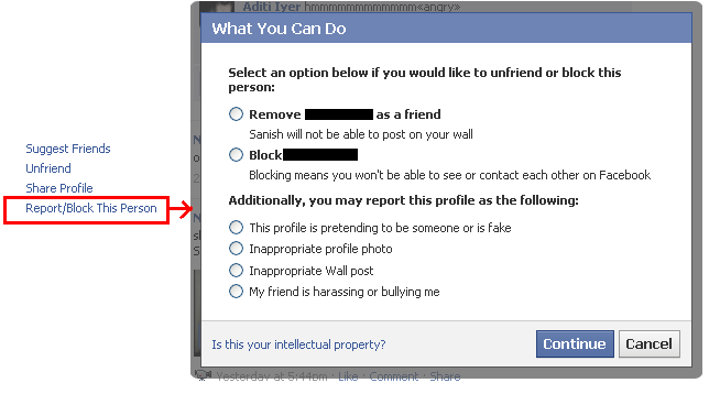 report a profile in facebook