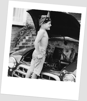retro, nostalgia, Morris Oxford, boy, mechanic