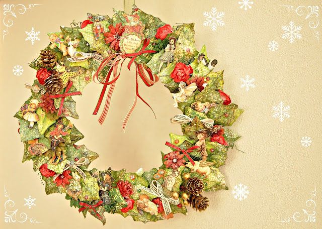 Graphic45-Maiko Miwa-Christmas Wreath-altered