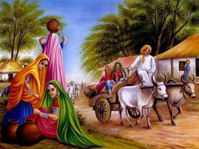 Village Life Paintings Easy Muhammad Hussain