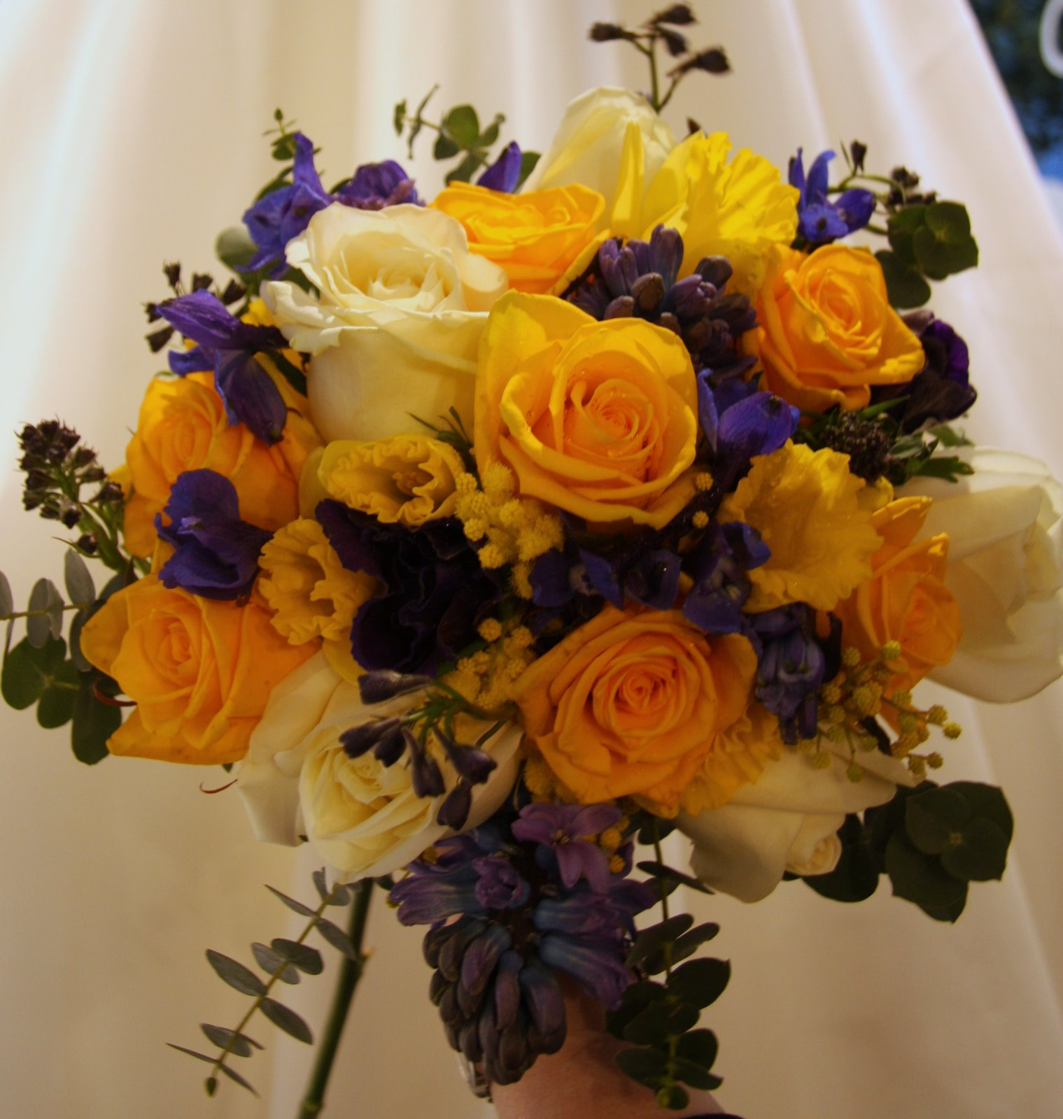 The Flower Magician Fabulous Royal Blue Yellow Spring Wedding Bouquet