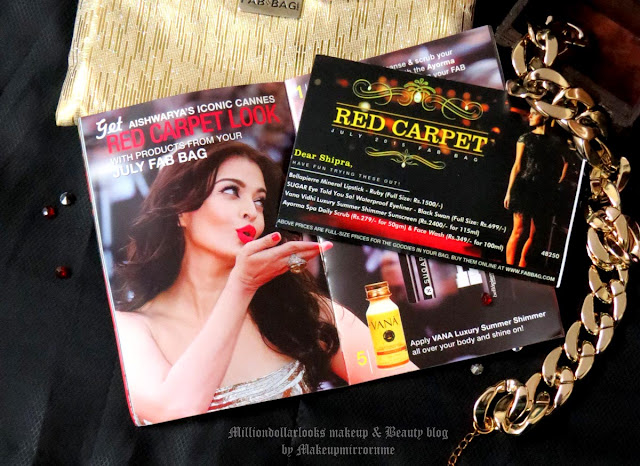 Fab bag july 2015 review, unboxing, The red carpet july fab bag review, Fab bag review, Fab bag dicout coupon, indian makeup blog, indian beauty blog, indian makeup and beauty blog, Red lipstick, Top indian beauty blogs, Beauty boxes in india, best makeup monthly beauty box india,