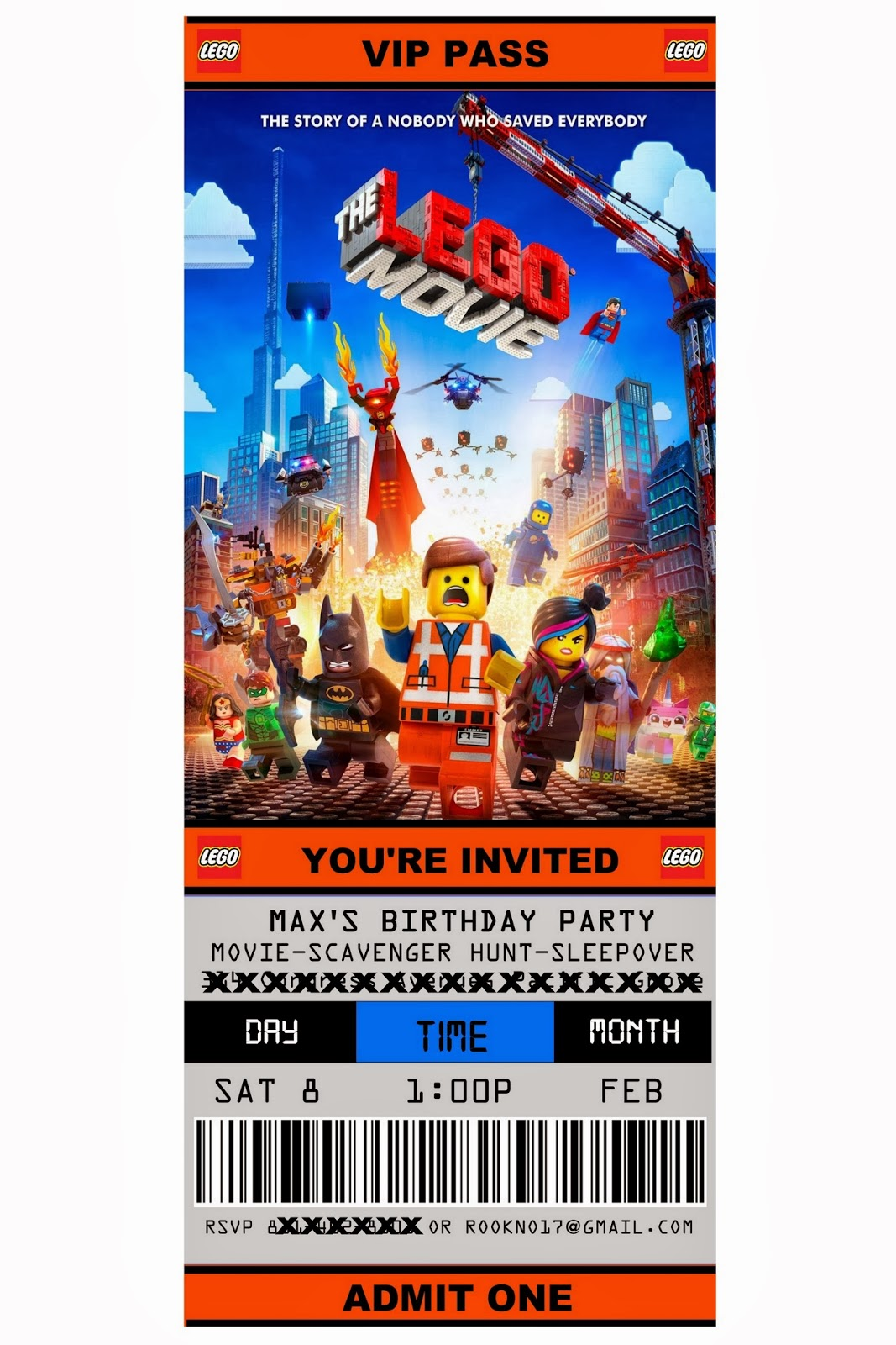 Jennuine by Rook No 17 Free Printable Ticket Style Party – Lego Party Invitations Printable