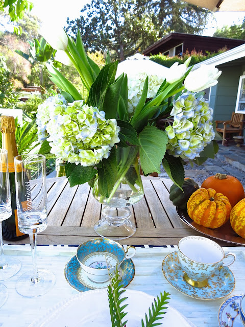 Casual outdoor fall tea setting